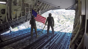 Edwards AFB conducts flyover for NLCS Game 3, Oct. 15