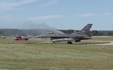 Swamp Fox F-16 Fighting Falcon jet pilots return from deployment