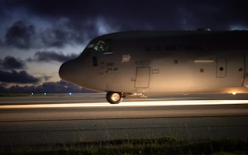 U.S. Air Force C-130 Departs Guam for Typhoon Yutu Relief