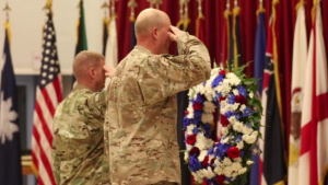 28th Infantry Division Holds a Wreath Laying Ceremony at Camp Arifjan, Kuwait