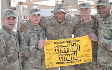 28ID Iron Divison Soldiers give a shout out to the Pittsburgh Steelers from Kuwait