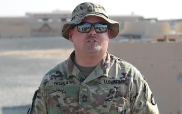 Master Sgt. Aaron Hoska sends greetings from Kuwait