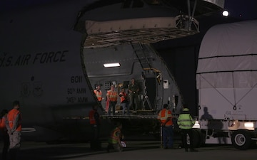 AEHF-4 satellite load onto Travis AFB C-5M Super Galaxy