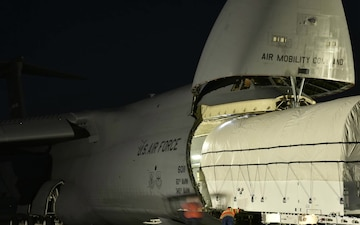 AEHF-4 satellite load onto Travis AFB C-5M Super Galaxy timelapse