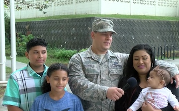 USAF TSgt. Hilton Coraliz and family give a holiday shout out from Kadena Airbase