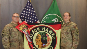 Cpt. Sarah Barnes and SSG Jose Serracastillo- NHL Blackhawks