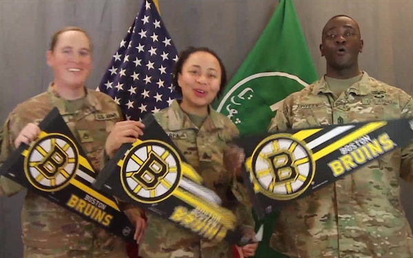 SSG Dianna Nazzal, SGT Brianna Sherpa and 1SG Brian Twitty- NHL Boston Bruins
