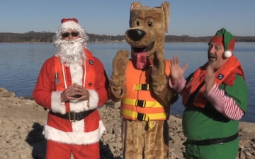 Santa Joins Bobber the Water Safety Dog for Holiday Message (music version)