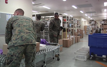 Postal clerks work hard on MCAS Iwakuni  (B-Roll)