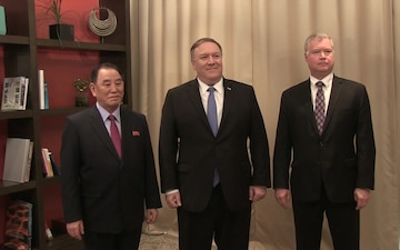 Camera Spray of Secretary Pompeo meeting with DPRK Vice-Chairman Kim Yong Chol, in Washington, DC