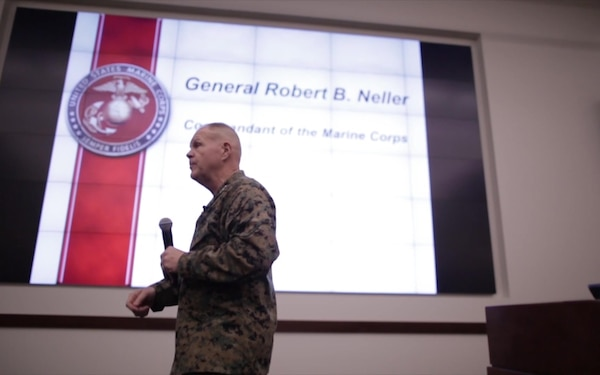 B-Roll of the Commandant of the Marine Corps Speaking to Sergeant's Course Marines