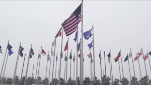 Joint Base Andrews Flags Fly During Snowstorm