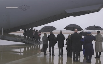 Former Respresentative John Dingell casket arrives at JBA