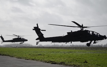 1CAB 1ID AH-64 Apache Helicopters leave Belgium for Atlantic Resolve