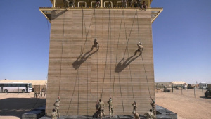 Air Assault Phase Three Rappel Training with lower thirds