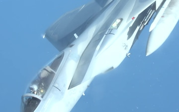 Stratotanker Refuels Fighting Falcons and Eagles