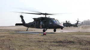 U.S. Army medics conduct air medical evacuation training