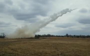 Arkansas National Guardsmen Launch Rockets from the Multiple Launch Rocket System (MLRS)