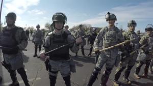 Oregon Guardsmen practice riot control during PATRIOT South