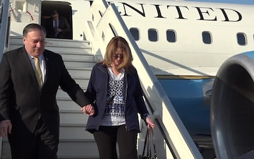 U.S. Secretary of State Michael Pompeo disembarks his airplane after landing in Ben Gurion airport in Israel, on March 20, 2019.