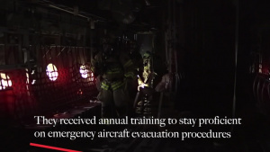 Yokota Firefighters conduct aircraft egress training
