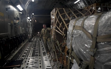 C-17 Loaded With Humanitarian Relief Supplies in Djibouti