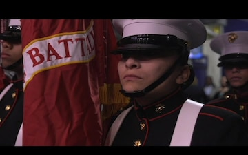 Marines perform in color guard for women's Final Four