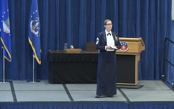 CMSgt Christine Shawhan delivers ALS graduation speech