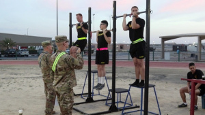 Service Members Compete in GAFB Fitness Test at Camp Arifjan