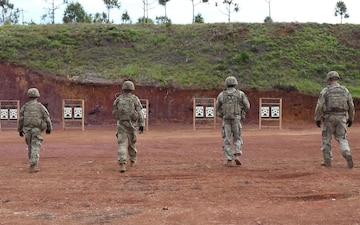 Infantrymen qualify on their rifles during Exercise Palau interviews