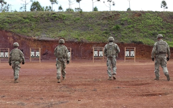 Infantrymen qualify on their rifles during Exercise Palau interviews