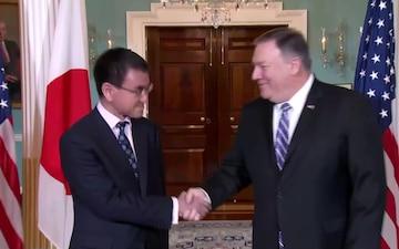 Secretary of State Pompeo camera spray with Japanese Foreign Minister Taro Kono