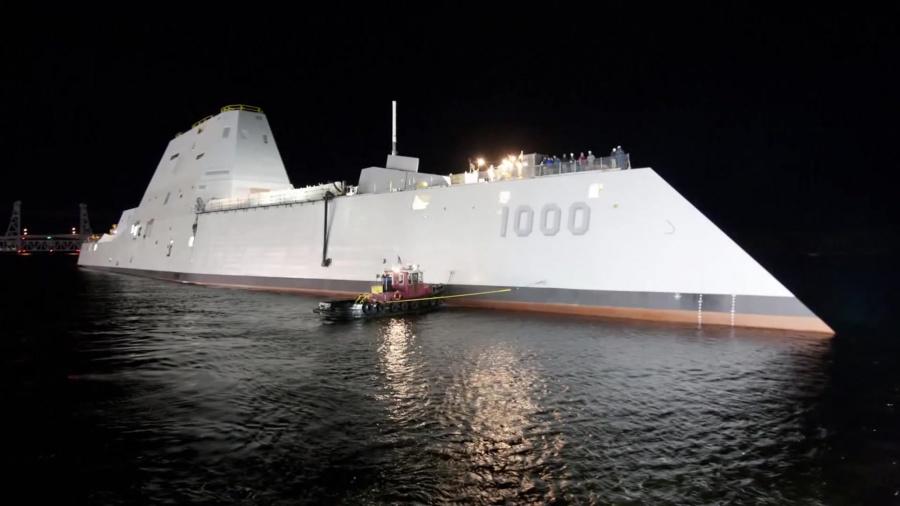 Navy Launches First Zumwalt Class Destroyer