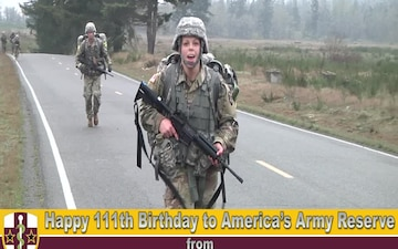 Army Reserve Birthday wishes during ARMEDCOM Best Warrior Competition on Fort Lewis, Washington