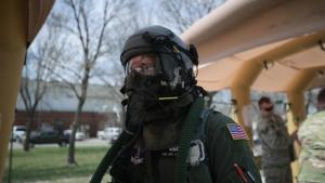 Airmen practice decontamination in a Aircrew Contamination Control Area