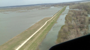 Aerial View of Levee R562 Near Peru, Nebraska Apr. 15, 2019