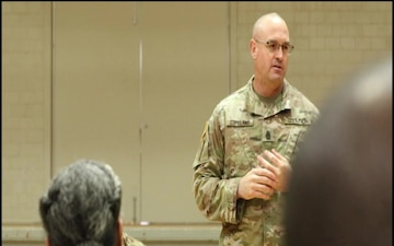 Army Reserve Command Sergeant Major Visits Troops in Mock Disaster Area