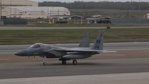 F-35B Lightning II, F-15 Strike Eagle and F-18 growlers land and take off for Exercise Northern Edge