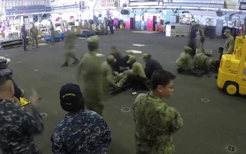 USS Bataan Conducts A Mass Casualty Drill