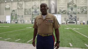 Sgt. Maj. Green addresses the Marines vs. Navy flag football game during Fleet Week NY