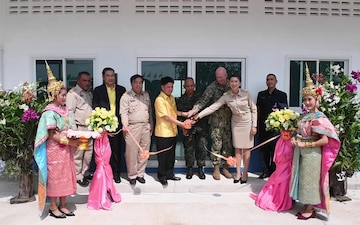 U.S. Navy Service Members; Royal Thai Armed Forces conduct ribbon cutting ceremony at Ban Surasak School during Pacific Partnership 2019