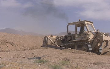 Mine Clearing Line Charge (MICLIC) on Assault Breacher Vehicle excersie b-roll