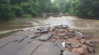 Roadways Are Damaged From High Flood Waters on the Arkansas River