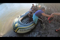 Inflatable rafts used to smuggle families from Mexico to the U.S.