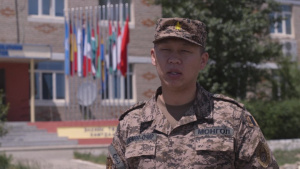 *B-Roll* Mongolian officer discusses command post exercise at Khaan Quest 2019