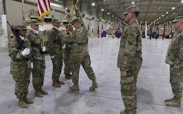 Soldiers with 401st AFSBn-SWA Participate in Relinquishment of Authority Ceremony