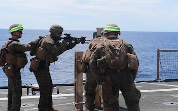 USS Harpers Ferry Conducts Live-Fire Small Arms Gun Shoot