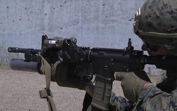 SPMAGTF-CR-AF Marines execute an iron-sights rifle range