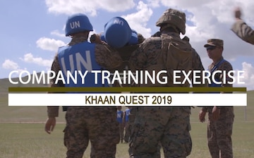 U.S. Marines and Mongolian soldiers carry out company training exercise for Khaan Quest 2019 *with graphics generation*