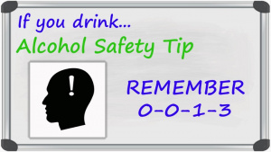 Alcohol Safety Tip:  Remember 0-0-1-3